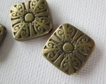 5PCS - Square Charms with Designs - Antique Brass - 20mm - Findings by ZARDENIA