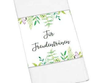 "50 x Band ""for Tears of Joy"" green wedding Hochzeitsdeko"