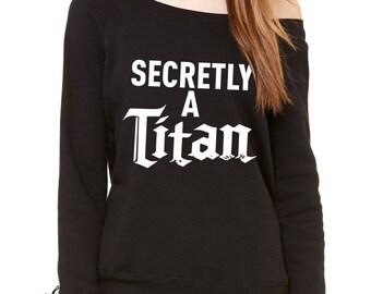 Secretly A Titan Slouchy Off Shoulder Oversized Sweatshirt