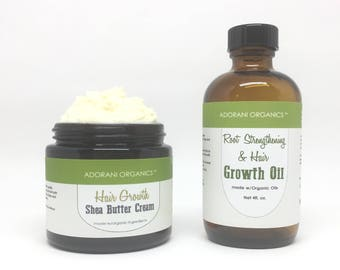 Hair Growth Oil & Shea Butter Set  | Powered with Essential Oils: Rosemary, Peppermint, Cedarwood by Adorani Organics