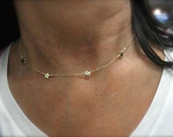 Station gold star necklace - mini star necklace -  14K gold-filled chain  - gold star necklace - chain necklace - teeny tiny star -