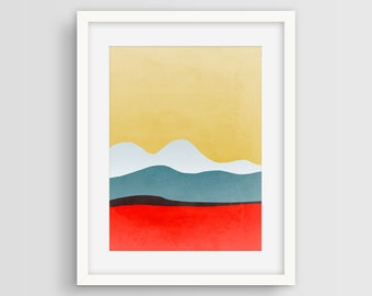 Modern Wall Art Print, Mid Century Art, Large Abstract Art, Scandinavian Art, Living Room Decor, Minimalist Art, Abstract Landscape