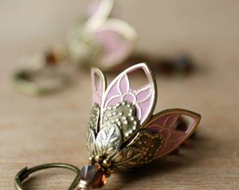 Dangle Earrings, Pink Flower Earrings, Drop Earrings, Girlfriend Gift, Gift For Girlfriend, Anniversary Gift, Mom Gift, Valentines Day Gift