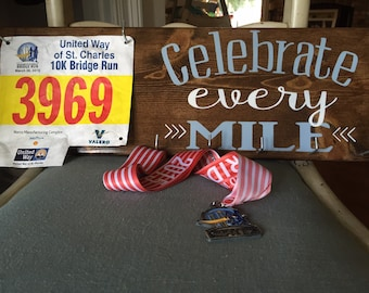 Great gift for runners! Race Medal Hanger & Race Bib Holder - marathons - triathlons- iron man - Father's Day