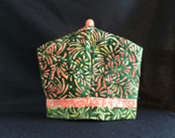 Pink and Green Chrysanthemum Burgundy Leaf Batik Tea Cozy, Coffee Cozy & French Press Cozy Quilt