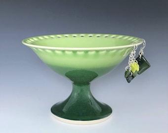 Green Earring Stand, Ceramic Earring Holder, Porcelain Earring Pedestal, Green Jewelry Organizer, Pottery Earring Bowl, Jewelry Storage Dish