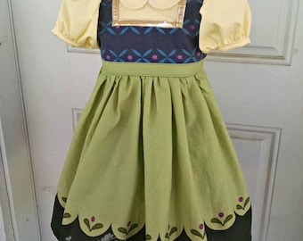 Frozen Toddler Anna Costume Dress with Peter Pan Collar - Princess Inspired Dress - Sizes 12/18 months through 6