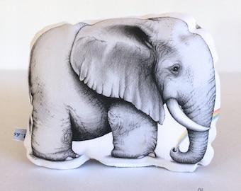 Rainbow Elephant Stuffie, Baby Size. Animal Softie, Plush Soft Toy. Illustration by flossy-p.