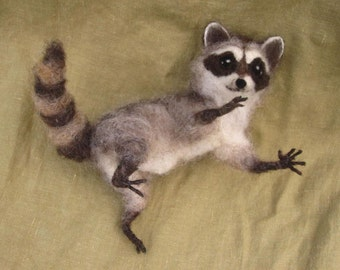 Made to Order Needle Felted Raccoon, pose-able woodland felted animal, 6-8 month turnaround time