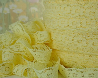 5yds Elastic Lace Ribbon Yellow Stretch Lace Trim 1/2 inch Baby Headbands DIY Wedding Lace,  lingerie Edging