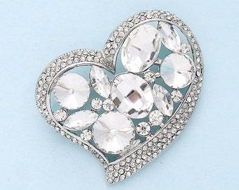 Rhinestone Heart Brooch, Bridal Brooch, Silver Crystal Rhinestone Brooches, Wedding Brooch, Bouquet Brooches, Dress Sash Brooch, Cake Brooch