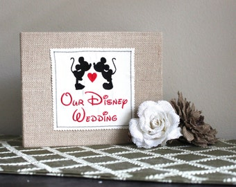 Personalized Kissing Mickey & Minnie Mouse Burlap Album / Scrapbook - Disney Wedding, Anniversary, Engagement, Shower, Vacation