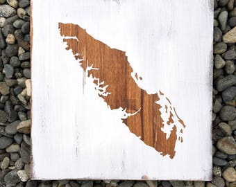 White Distressed Vancouver Island Sign