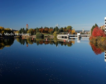 Riverfront Blues, Spokane River, Downtown Spokane, Spokane photo, River photography, Urban photo, Urban river, Spokane, WA, Clocktower