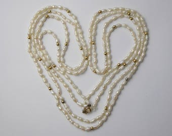 Vintage 14ct Yellow Gold Double Strand of Freshwater Rice Pearls