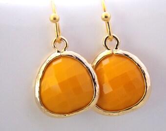 Glass Earrings, Mustard Earrings, Yellow Earrings, Mustard Yellow, Gold Earrings, Dainty, Dangle Earrings, Petite, Bridesmaid Earrings