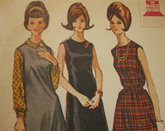 RARE Vintage 60's McCalls 6959 Misses Dress, Jumper, or Blouse  Size 12  Bust 32