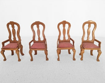 Dollhouse CHAIRS Set 4 Pieces Dining Room Miniatures Wood + Gingham