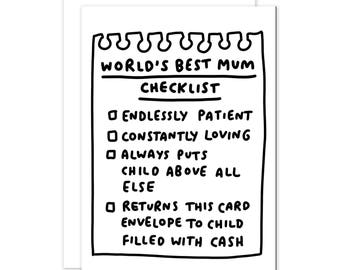 World's Best Mum Checklist - Funny Mother's Day Card - Cute Mothers Day Card for Mum - Card for Mom - Handwritten Card - Lovely Mum Card