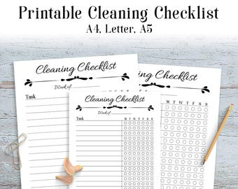 Cleaning Checklist Printable, Printable Daily Cleaning Schedule, Chore Chart Printable, Cleaning Planner, Cleaning Tracker, A4, Letter, A5