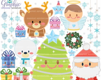 Christmas Clipart, Christmas Graphics, COMMERCIAL USE, Kawaii Clipart, Christmas Clip Art, Christmas Party, Christmas Tree, Winter