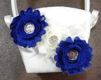 Personalized Flower Girl Basket, Wedding Flower Basket, Couples Initials Flower Basket, Custom Crystal Rhinestone Wedding Basket MORE COLORS