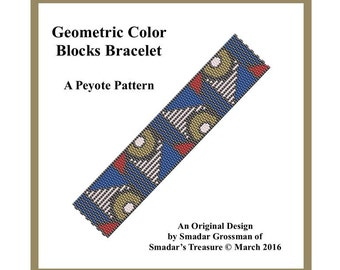Peyote Bracelet Beading Pattern, 2 Drop Odd Count Peyote Stitch / Geometric Color Blocks / Off Loom Beadweaving Pattern. Instant Download