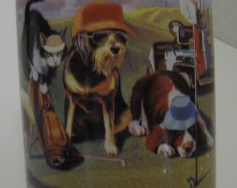 Leanin Tree Coffee Tea Mug Bad Day Golfing Dogs Cats Bryan Moon Ceramic 12 Ounce Capacity