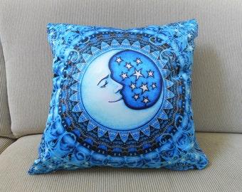 "Blue Moon Pillow Cover, Decorative Pillow, Celestial Art, 18""x18, Dan Morris Sun Moon Art, Home Decor Pillow Cover, Insert available"