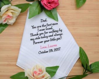 Father of the Bride Handkerchief. Wedding Handkerchief. Personalized Handkerchief. Embroidered Handkerchief. Wedding gift for Dad.