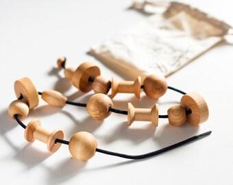 Lacing Bead Set / Wood Lacing Beads / Wood Educational Toy / Fine Motor Skills / Montessori Reggio Preschool Homeschool Activity