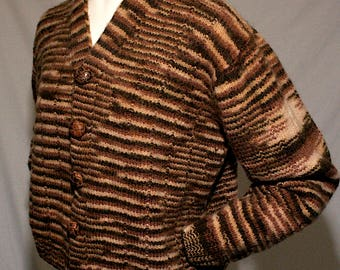 """50/60s Hand knit chunky thick wool brown and beige v-neck cardigan sweater w/ leather buttons - women's 1X/XXL / 44"""""""