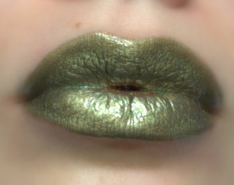 Spanish Olive - Green With Gold Shimmer Lip gloss - Vegan - Gluten Free - Fresh - Handmade Cruelty Free