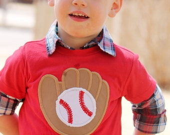 Boys Baseball Glove with Personalized Name - Red Applique Shirt or Bodysuit