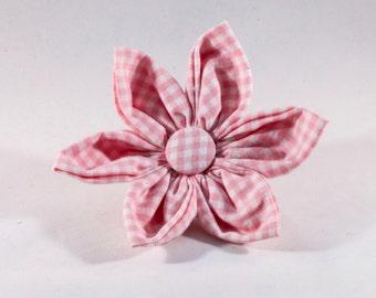 Preppy Pink Gingham Girl Dog Flower Bow Tie