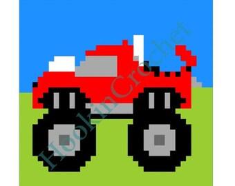 Monster Truck Bobble Stitch Graph Pattern - 36 x 36