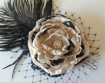 Champagne and Black Lace Flower Fascinator, Champagne Black Floral Headpiece,  Wedding Hair piece,  Black Champagne Flower Fascinator