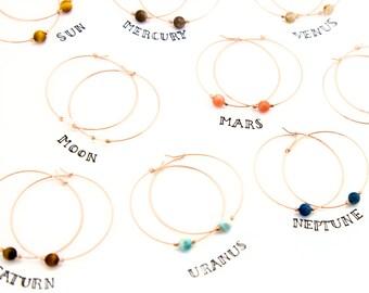 Celestial Hoops, Genuine Gemstone Hoops, Bridesmaid Gift Ideas,  Hoop Earrings With Charm, Birthday Gift for Her, Thin Hoops, Healing Stones