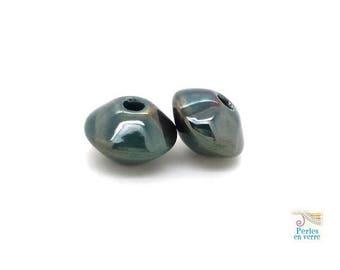 2 beads teal glazed ceramic saucer 11x17mm (PC34)