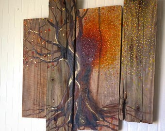 Changing Of The Seasons, Abstract Art, Driftwood Wall Art, Driftwood Decor