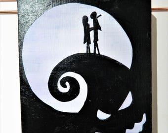 Jack and Sally Tim Burton Inspire Silhouette Canvas