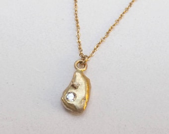 Diamond 14k Gold Nugget Necklace ~ Ready to Ship