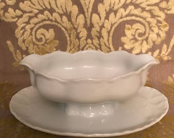 Vintage Hutschenreuther Gravy Boat with Attached Plate