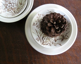 Vintage China, Brown and White Dishes, Floral China, Barratts of Staffordshire, Made in England, Vintage Dishes, Brown Transferware,