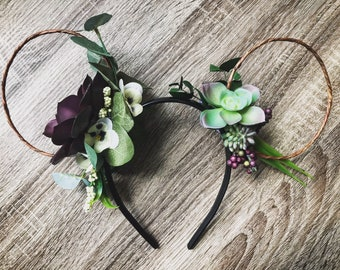 Autumn Bouquet - Succulents and flowers Bespoke Mickey Ears