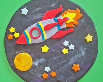 Rocket Ship in Space Cake Topper