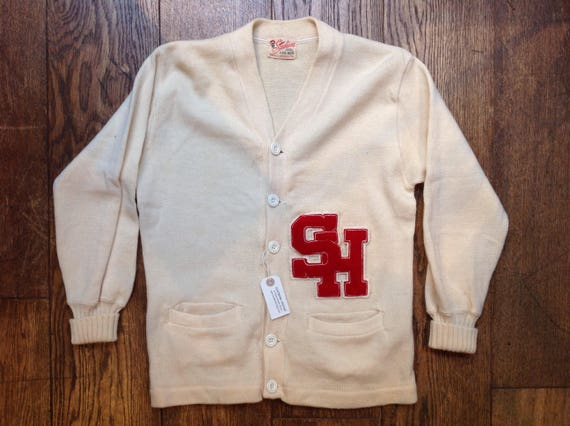 "Vintage 1960s 60s white wool Stadium varsity college Letterman sweater cardigan Ivy League style mod chenille patch rockabilly 40"" chest"