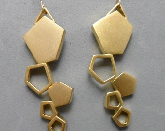Gold Geometric Earrings, Long Dangle, 5 Pentagons, Bridal, Contemporary, Nickle-Free Hook,Boho,Trendy