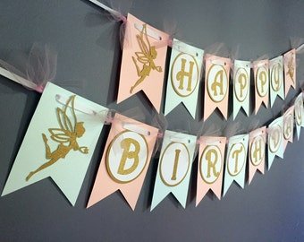 Gold and Pink Fairy Birthday Banner - Pink Sparkle Birthday Decoration - Pink Mint Gold Glitter Fairies