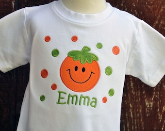 Personalized Halloween Pumpkin Shirt with Polka Dots